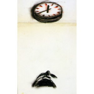 Untitled (man looking to clock), 1988, Pencil and charcoal on white paper 43 x 31 cm