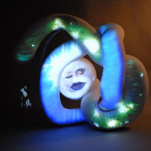 """Million MIles (Orbital Screw)"", 2007, Fibreglass sculpture, dvd projection system, speakers 122 x 168 x 76 cm"
