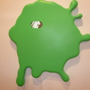 """Green"", 2007, Fibreglass, monitor, loud speakers 122 x 109 x 10 cm"