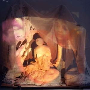 """The devil is in the Details"", 1998, Plaster, fiberglass, paint, plastic, projection system approx.158 x 53 x 70 cm"