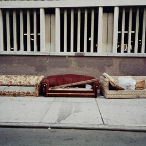 """Three Sofas at Parking Garage"", 1997, Unique photograph on aluminium 59,5 x 89 cm"