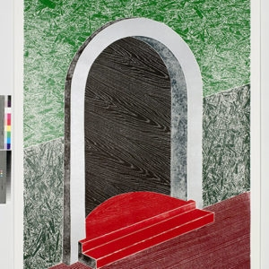 """Woodcuts (Door)"", 2011, Coloured woodcut print Ed.9/12 253 x 162 cm"