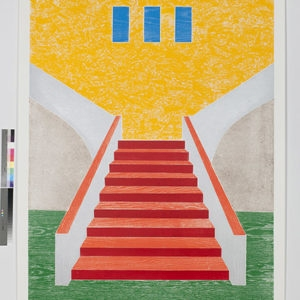 """Woodcuts (Stairs)"", 2011, Coloured woodcut print Ed.9/12 253 x 162 cm"