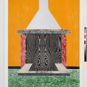 """Woodcuts (Chimney)"", 2011, Coloured woodcut print Ed.9/12 253 x 162 cm"