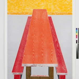 """Woodcuts (Table)"", 2011, Coloured woodcut print Ed.9/12 253 x 162 cm"