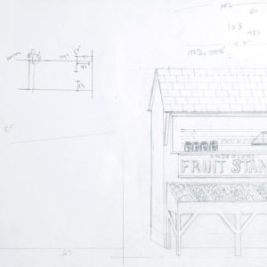 Study for Theatre Backdrops, 2006, Pencil on paper 35,5 x 41 (framed 56,5 x 66,5) cm