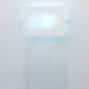 Grattage, 2016, Crystal paper, iron brackets  and electrical system  187.5 X 86 X 16.2 cm