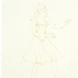 La brodeuse (appliquee 1), 2014, Coloured pencil on paper 30 x 21 cm