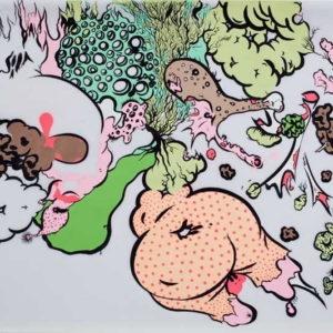"""""""Chicken Dinner"""", 2009, Ink on vellum 48.3 x 61 cm"""