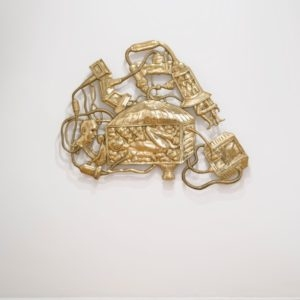 Wagon for Double Protection, 2014, Brass, resin, color pigment, thread 1/2 (Edition of 2 in brass + 1 AP in graphite/resin 113 x 150 cm