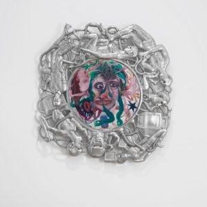 Double Portrait, 2014, Aluminum, resin, color pigment, thread and oil color on glass Unique 100 cm diam.