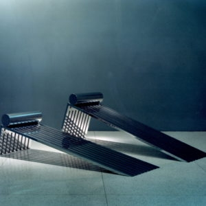 Rudolf Hess beach chairs, 1979, Nickel plated steel ed 1/9 79x200x60,5/ /56x200x60,5cm