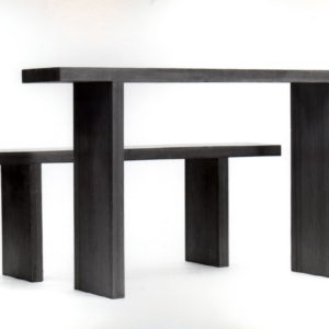 Dennis table, bench & chair 1989, plywood and oregon pine ed1/4 T:76x140x30,B:45x140x25,5cm C:80x40x35