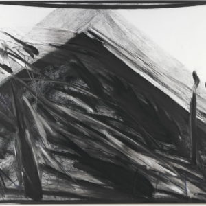 Pyramid, 1998, Charcoal on canvas 107 x 153 cm
