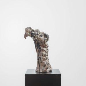 """""""Oleaje"""", 2017, Glazed ceramic on steel pedestal 50 x 30 x 19 cm pedestal: 109,5 x 38 x 38 cm"""