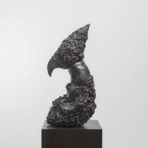 """Domino"", 2017, Glazed ceramic on steel pedestal 126 x 61 x 55 cm pedestal: 70 x 70 x 70 cm"