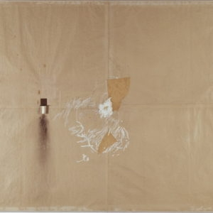 Untitled, 1966, Mixed media mounted on paper on stretcher, candle and glass 186 x 282 cm