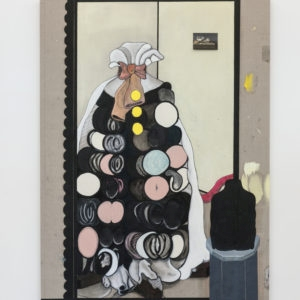Real Somethings (Bow), 2017, Pencil, oil paint on canvas 196 x 149 cm