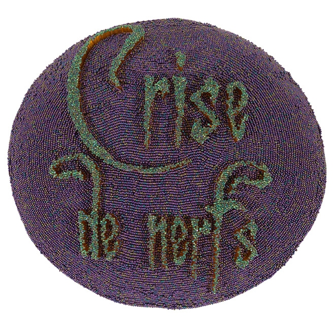 "Crise de Nerfs, 2006, Beads, silk, thread 50 x 45 x 11 cm ""Silence de mort"", 2006 Beads, silk, thread 46 x 26 x 28 cm"