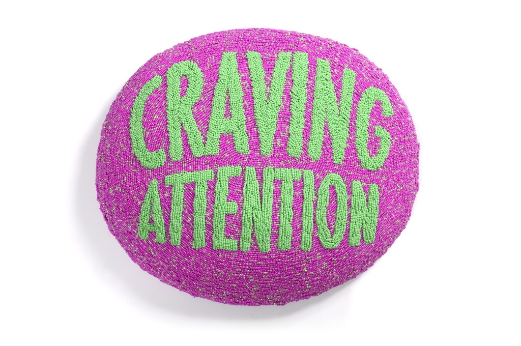 Craving Attention, 2006, Beads, silk, thread 40 x 34 x 9 cm