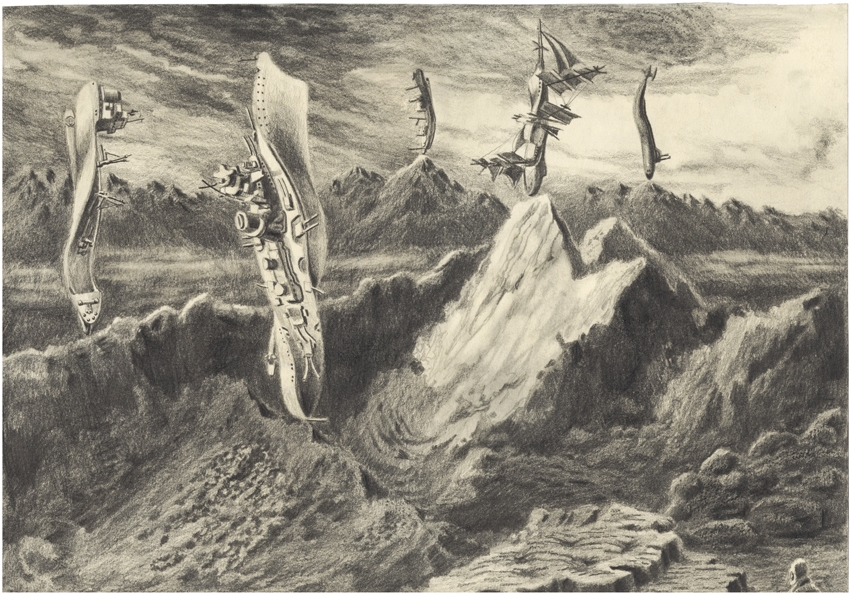 And if you see a ship on the mountain's peak, a pussy must have dragged it up there 2011, Pencil on paper 21 x 29 cm