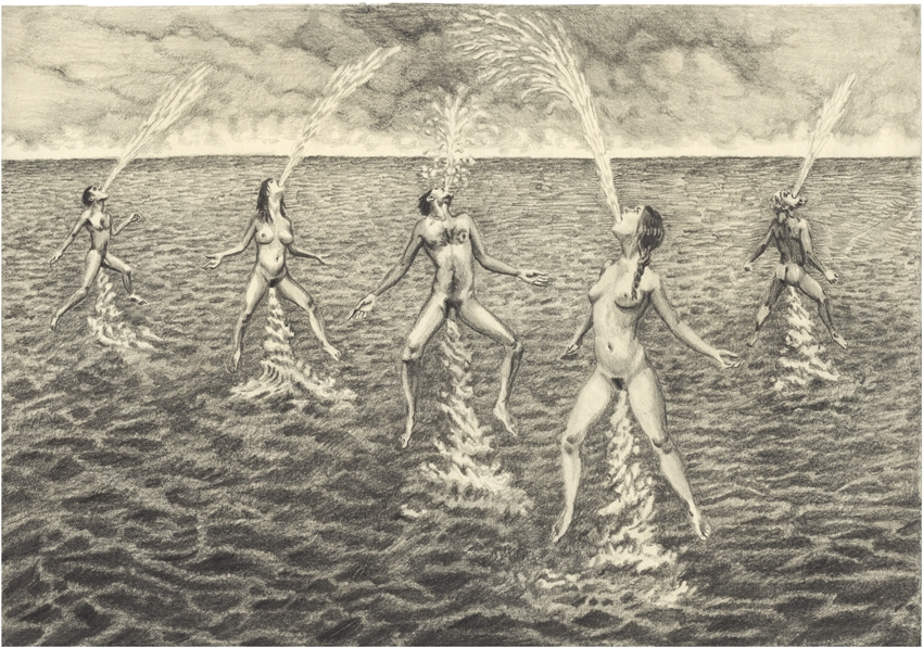 They became pipes, for the sea to come through 2011, Pencil on paper 21 x 29 cm
