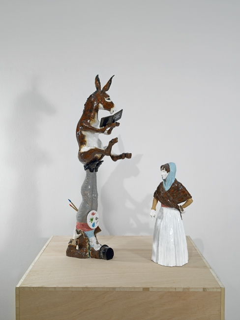 Goya on yoga, 2011, Ceramic, wood 93 x 70 x 60 cm
