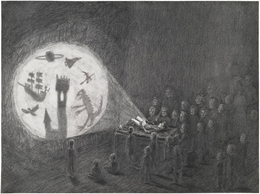 So this was shadow theater back in 1986, 2012, Pencil on paper 31 x 42,5 cm