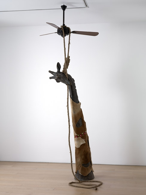 The Great Indian Rope Trick, 2006, Bronze, rope skin, ceiling fan and cotton ribbon approx. 368 x 178 x 30,5 cm