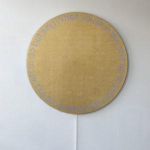"""When you Sing"", 2018, Aluminum, gold leaf sheets, led diam. 150 cm"