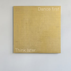 """Dance First"", 2018, Aluminum, gold leaf sheets, led 150 x 150 cm"