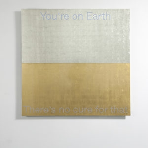 """You are on Earth"", 2018, Aluminum, gold and platinum leaf sheets, led 150 x 150 cm"