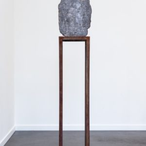 """Eclipse 4"", 2018, Sculpture with brick, wood, concrete and lead Work: 37 x 31 x 7 cm Pedestal: 121 x 28 x 28 cm"