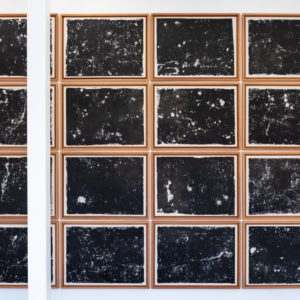 """Stellar"", 2018, Mixed media, Japanese paper and canvas 16 paintings each:84 x 111 x 4 cm overall: 450 x 340 x 4 cm"