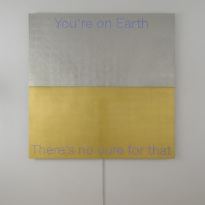 """You're on Earth"", 2018, Aluminum, gold and platinum leaf sheets, led 150 x 150 cm"