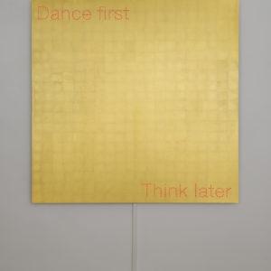"""Dance First"", 2018, Aluminum, gold leaf sheets, led 150 x 150 cm"