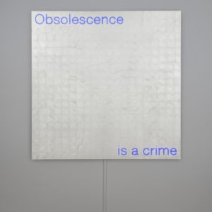 """Obsolescence"", 2017, Aluminum, platinum leaf sheets, led 150 x 150 cm"