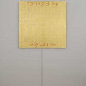"""Don't touch me"", 2018, Aluminum, gold leaf sheets, led 100 x 100 cm"