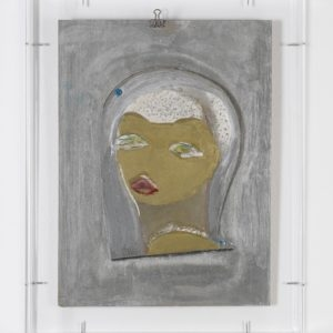 Untitled, n.d., Mixed media on plywood 44,5 x 32 cm (Plexi case dimensions: 52,5 x 41 x 6 cm)