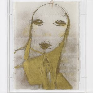 Untitled, n.d., Mixed media on rice paper mounted on Plexiglas frame 45,5 x 32,5 cm (Plexi case dimensions: 48 x 39 x 5 cm)