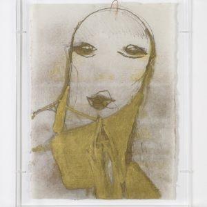 Untitled, n.d., Mixed media on rice paper mounted on Plexiglas frame 45,5 x 32,5 cm (Plexi case dimensions: 48 x 39 x 5 cm)