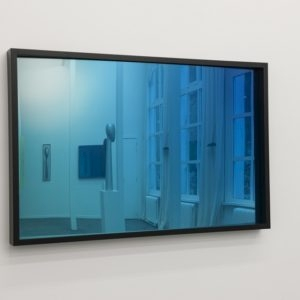 Blue Flash Black, 2018, Acrylic glass mirror, frame lacquered Ed. 2/3 80 x 123,5 x 8 cm