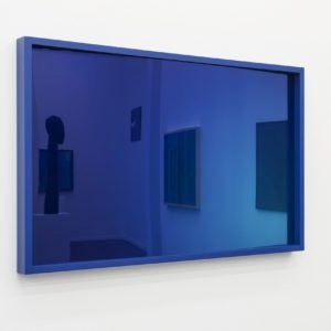 Blue Flash, 2018, Acrylic glass mirror, frame lacquered Ed. 1/3 80 x 123,5 x 8 cm