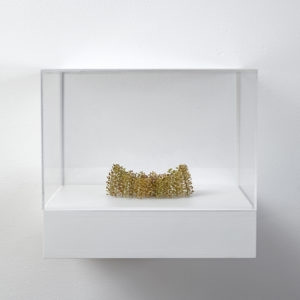 Konkave Form (concave form), 2019, Plant stalks, 4 x 12 x 8,5 cm (In Plexiglas vitrine: 22 x 25 x 23 cm)