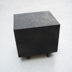 Mes Transports, 2012-13, Various objects, wood, metal, wheels, black wrap, 41 x 35 x 41 cm