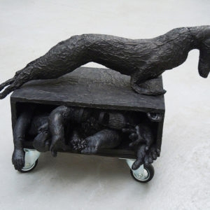 Mes Transports, 2012-13, Various objects, wood, metal, wheels, black wrap, 52 x 65 x 82 cm