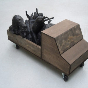 Mes Transports, 2012-13, Various objects, wood, metal, wheels, black wrap, 37 x 82 x 45 cm