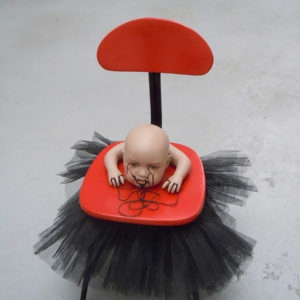 Mes Transports, 2012-13 Tutu, various objects, wood, metal, wheels, blankets, black wrap, 73 x 61 x 58 cm