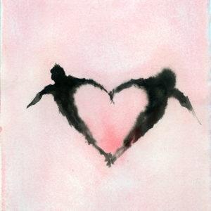 Petit Coeur Rose , 2018, Acrylic on paper, 21,5 x 17,5 cm