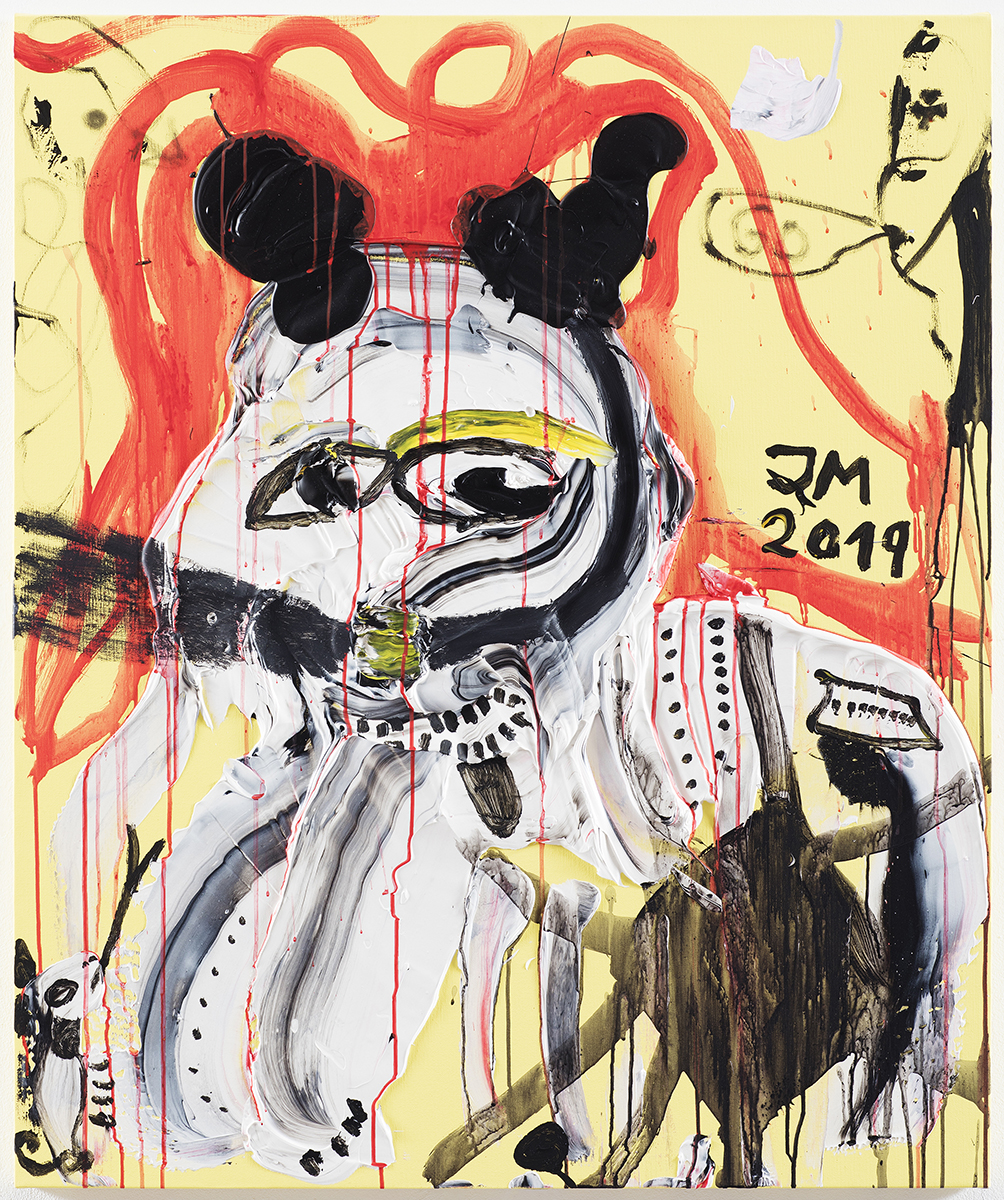 "JONATHAN MEESE - Repro image shows a painting art work by German artist JONATHAN MEESE on Aug.16, 2019, in Berlin, Germany.   PHOTO COPYRIGHT AND CREDIT LINE IS TO USE COMPLETLY ON THE SAME PAGE OF IMAGE PUBLISHING:   2019 © PHOTOGRAPHY JAN BAUER . NET / COURTESY JONATHAN MEESE . COM  Jonathan Meese ~ MEE/M 4194/00 ""MEIN HUND ORTSCHAFTET DICH !"", 2019 Acryl auf Leinwand / acrylic on canvas 120,5 x 100,8 x 3,3 cm / 47,4 x 39,7 x 1,3 in  16.08.2019 Berlin, Deutschland  www.janbauer.net mail@janbauer.net mobile phone +49.171.4981690"
